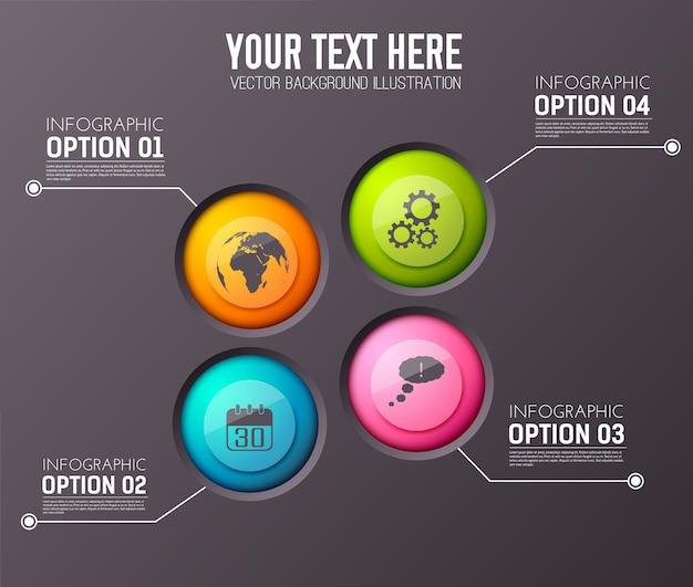 Infographie Avec Quatre Paragraphes D'options De Texte Modifiable Et Icône De Cercle Appropriée Vecteur gratuit