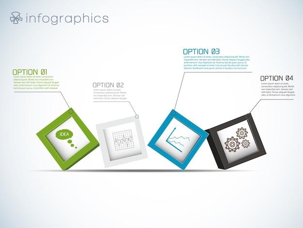 Infographie Avec Rangée De Cubes Et Icônes De Graphiques Et Engins Vecteur gratuit