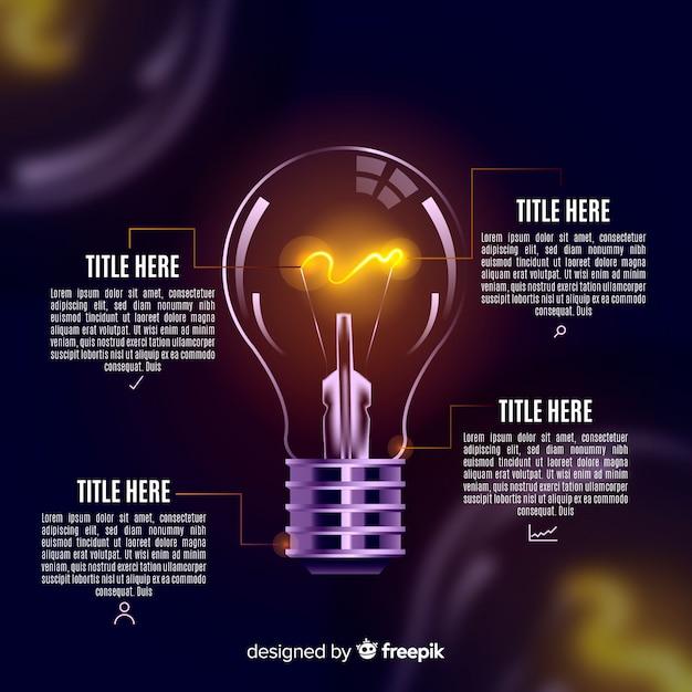 Infographie réaliste fond d'ampoule Vecteur gratuit
