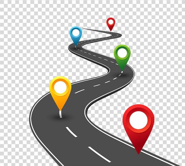 Infographie Routière. Route Sinueuse Vers Le Succès Avec Des Pointeurs à Broches. Chemin De Voyage D'affaires. Le Progrès Vecteur Premium