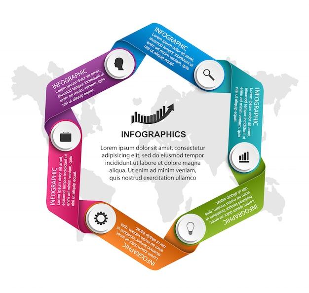 Infographie avec des rubans courbes dans un cercle. Vecteur Premium