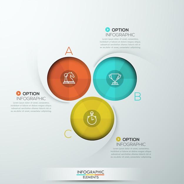 Infographie en spirale moderne avec trois options Vecteur Premium