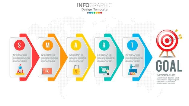 Infographie De Stratégie De Définition D'objectifs Intelligents Avec 5 étapes Et Icônes Pour Graphique D'entreprise. Vecteur Premium