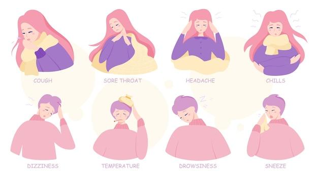 Infographie Des Symptômes Du Rhume Ou De La Grippe. Fièvre Et Toux, Maux De Gorge. Idée De Traitement Médical Et De Soins De Santé. Illustration Vecteur Premium