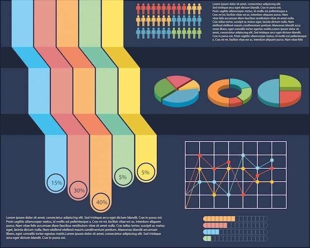 Une infographie avec une tarte et un graphique linéaire Vecteur gratuit