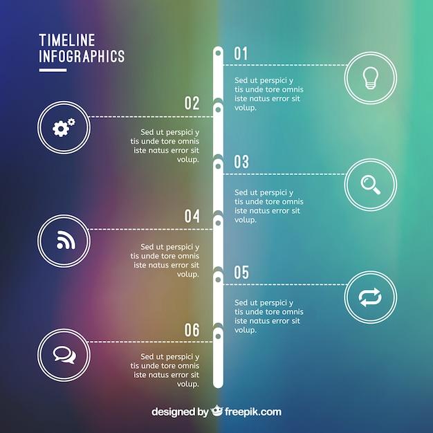 Infographie timeline sur bacground gradient Vecteur gratuit
