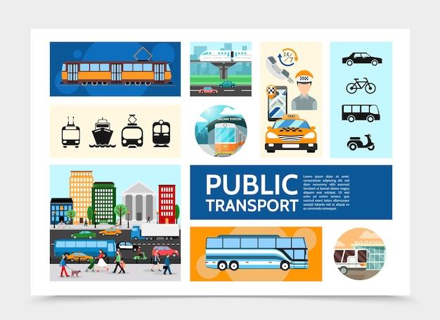Infographie De Transport Public Plat Avec Opérateur De Taxi De Tramway Trafic Routier Bus Métro Bateau De Croisière Illustration De Vélo Scooter Vecteur gratuit