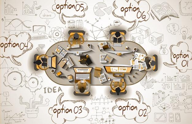 Infographie travail d'équipe avec les entreprises doodles sketch Vecteur Premium
