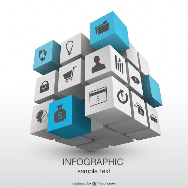 Infographie Tridimensionnelle Cubique Vecteur gratuit