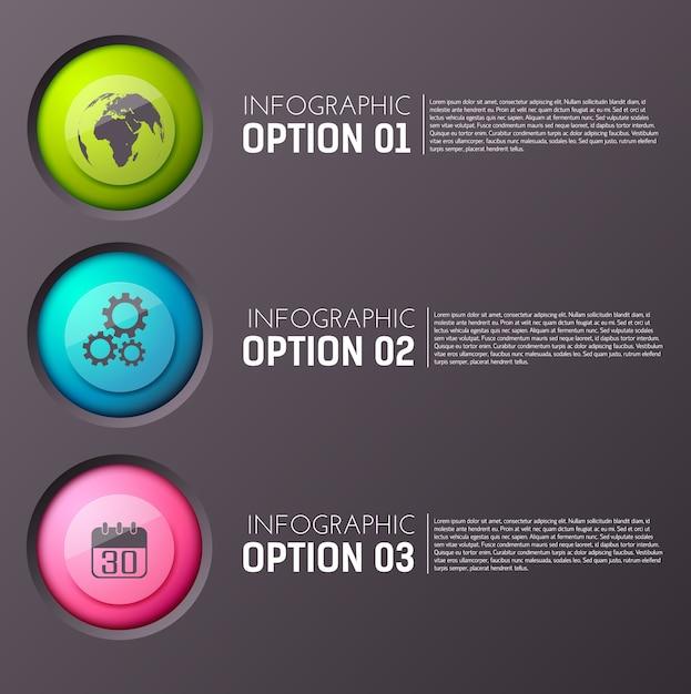 Infographie Avec Trois Paragraphes D'options De Texte Modifiable Et Icône De Cercle Appropriée Vecteur gratuit