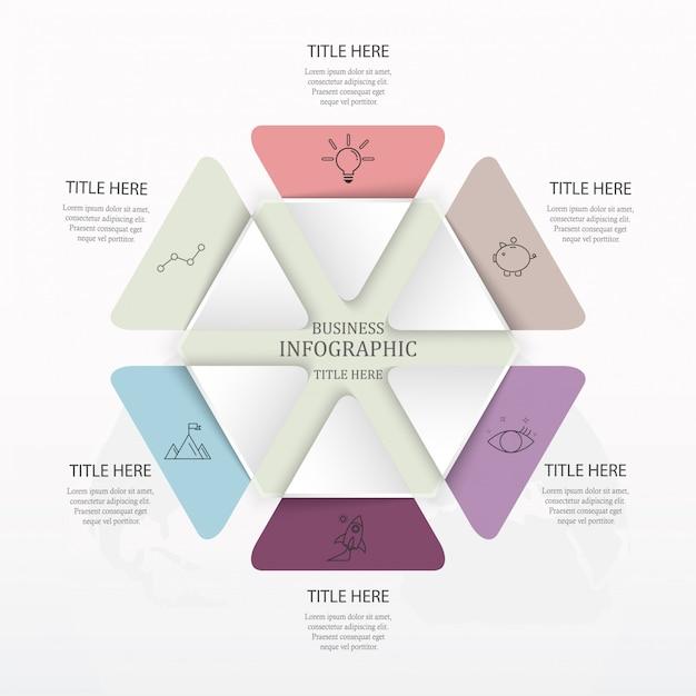 Infographie vectorielle moderne avec un design de mise en page en 6 étapes. Vecteur Premium