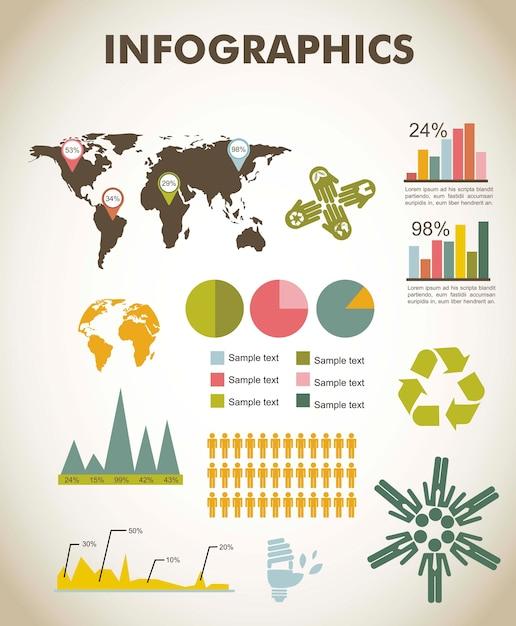 Infographie vintage sertie d'illustration vectorielle carte Vecteur Premium