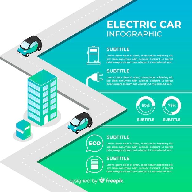 Infographie de voiture électrique Vecteur gratuit
