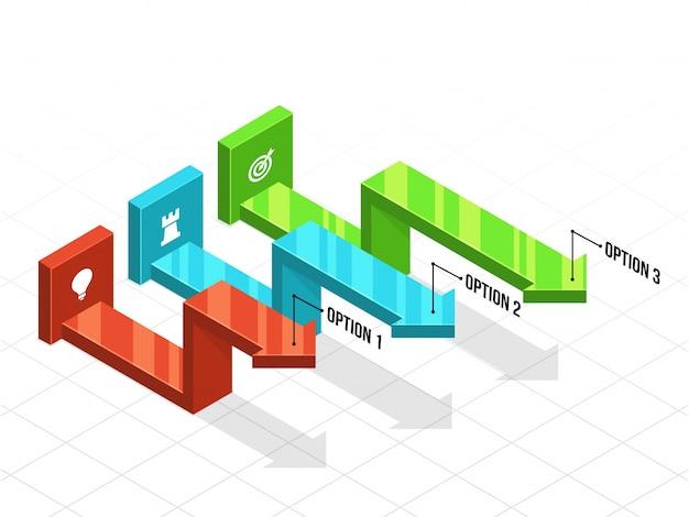 Infographies d'affaires en 3d avec trois (3) étapes. Vecteur Premium