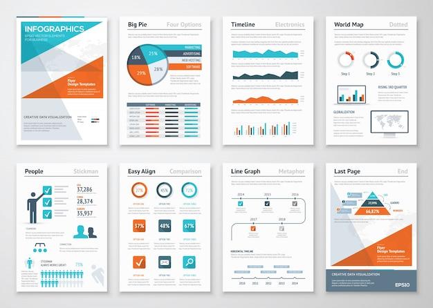 Infographies d'affaires éléments vectoriels pour les brochures d'entreprise Vecteur Premium