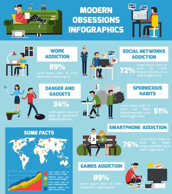 Infographies modernes obsessions Vecteur gratuit
