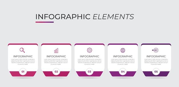 Les Infographies Peuvent être Utilisées Pour La Mise En Page Du Flux De Travail, Le Diagramme, Le Rapport Annuel, La Conception Web. Vecteur Premium