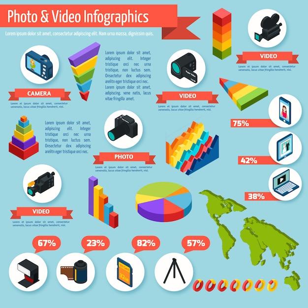 Infographies photo et vidéo Vecteur gratuit