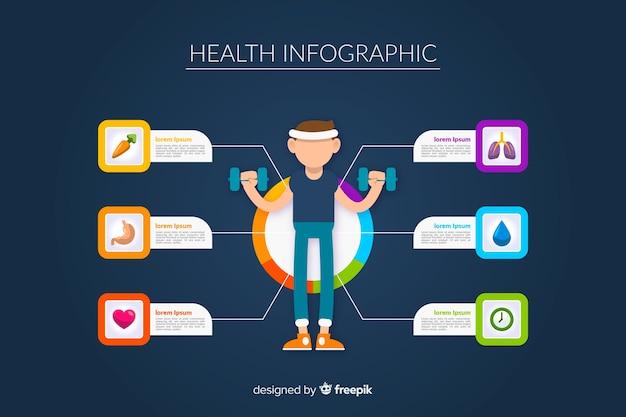 Infographies de santé plates d'athlètes Vecteur gratuit