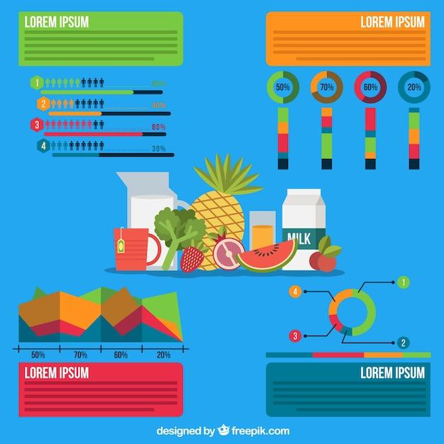 Infographique alimentaire sur un fond bleu Vecteur gratuit