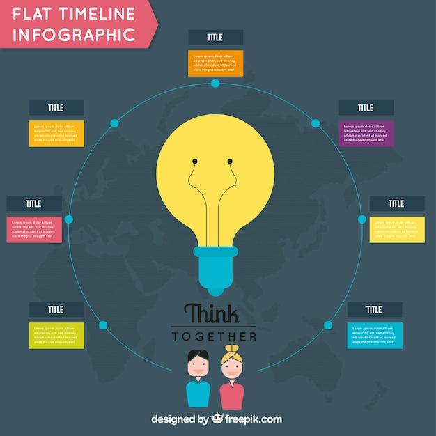 Infographique Ronde Avec Ampoule Vecteur gratuit