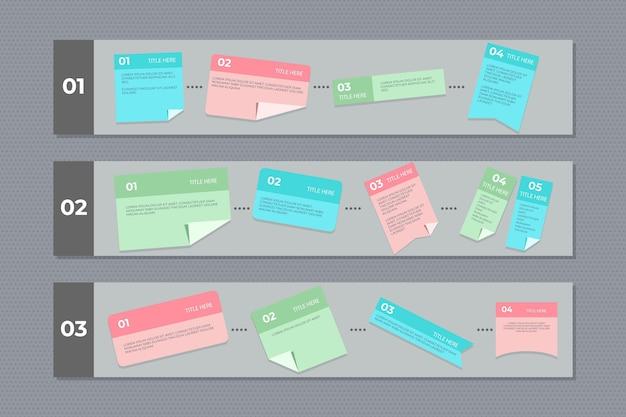 Infogrpahics De Cartes Post-it Linéaires Vecteur gratuit