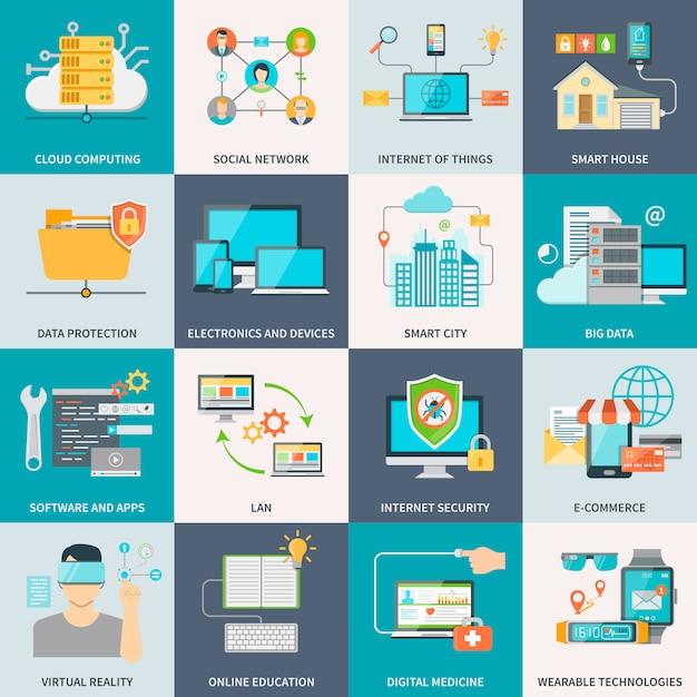 Information Technologies Concept Flat Icons Vecteur Premium
