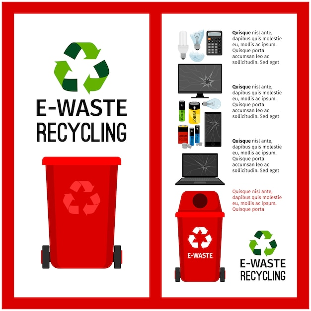 Informations sur le conteneur de déchets rouges avec les déchets électroniques Vecteur Premium