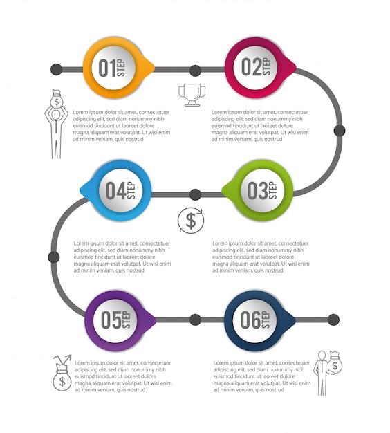 Informations sur le processus de données commerciales infographiques Vecteur Premium