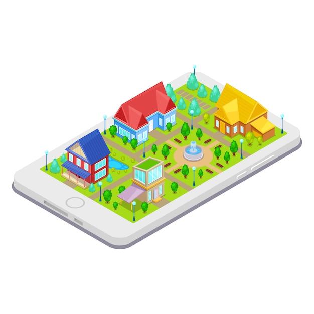 Infrastructure de la ville isométrique avec arbres de maisons et fontaine sur téléphone mobile Vecteur Premium