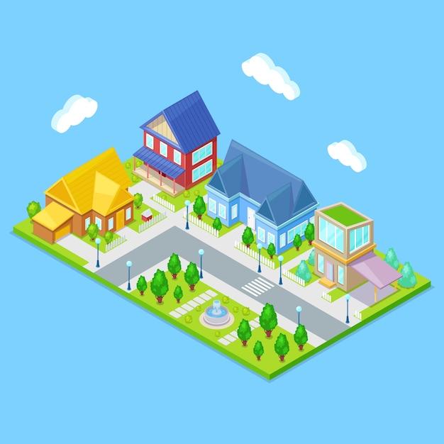 Infrastructure de la ville isométrique avec maisons, arbres et fontaine Vecteur Premium