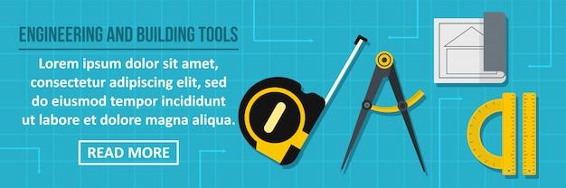 Ingénierie et construction outils bannière modèle horizontal concept Vecteur Premium