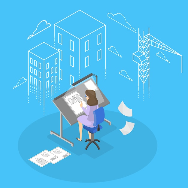 Ingénieur Et Architecte. Vecteur Premium