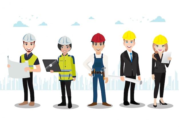 Ingénieur, technicien, constructeurs et mécaniciens personnage de dessin animé de travail d'équipe ou style plat. Vecteur Premium