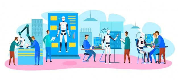 Ingénieurs fabriquant, testant des robots Vecteur Premium