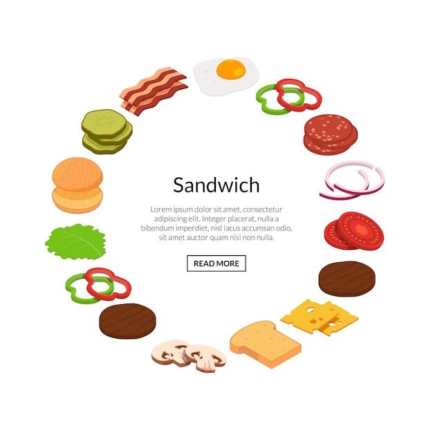 Ingrédients De Burger Isométrique Couleur Plate Vecteur Premium