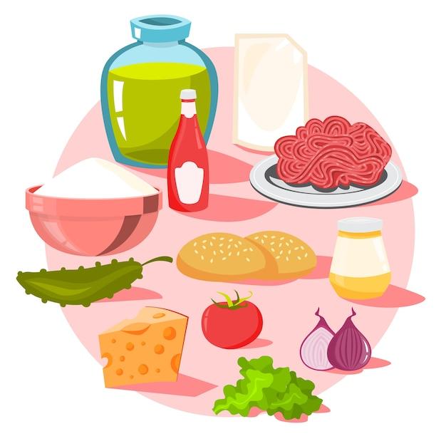 Ingrédients Burger. Pain Et Fromage, Salade Et Tomate Vecteur Premium