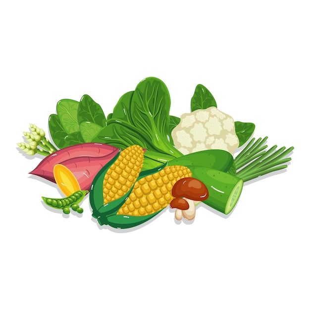 Ingrédients de cuisson d'aliments naturels sains et frais Vecteur Premium