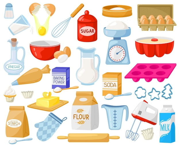 Ingrédients De Cuisson De Dessin Animé. Ingrédients De Boulangerie, Farine De Boulangerie, œufs, Beurre Et Ensemble De Vecteurs De Lait Vecteur Premium