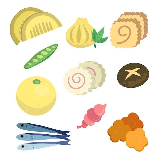 Ingrédients Osechi Ryori Dessinés à La Main Vecteur gratuit