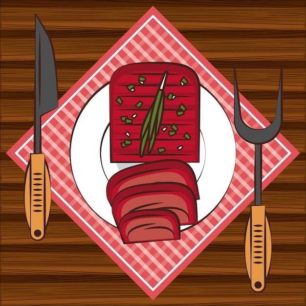 Ingrédients steakhouse barbecue sur la table Vecteur Premium