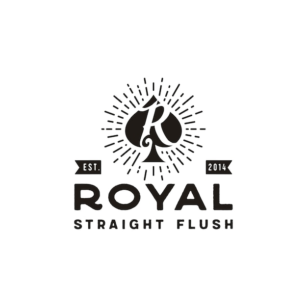 Initial R Pour Royal Flush Spade Poker Game Card Vintage Retro Logo Vecteur Premium