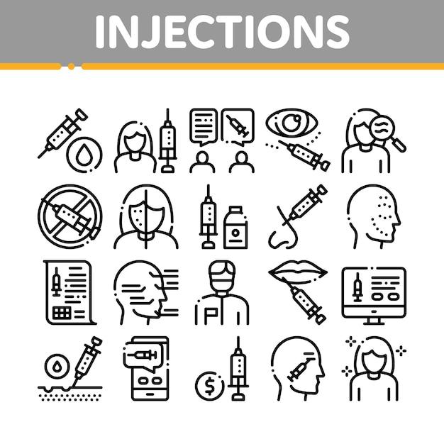 Injections collection elements icons set Vecteur Premium