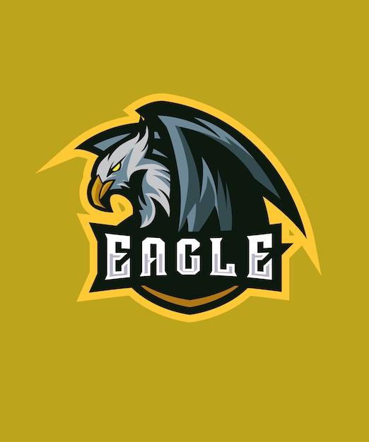 Innocent eagle e sports logo Vecteur Premium