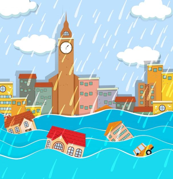 Une inondation dans la grande ville Vecteur gratuit