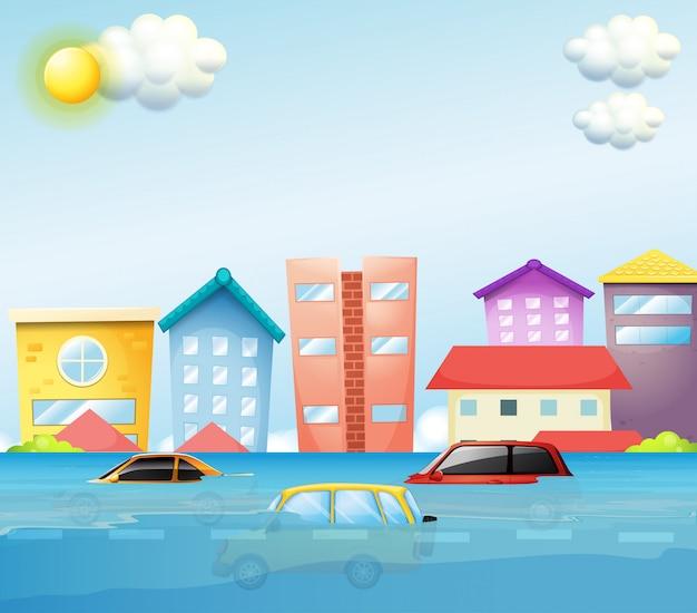 Une inondation dans une grande ville Vecteur gratuit