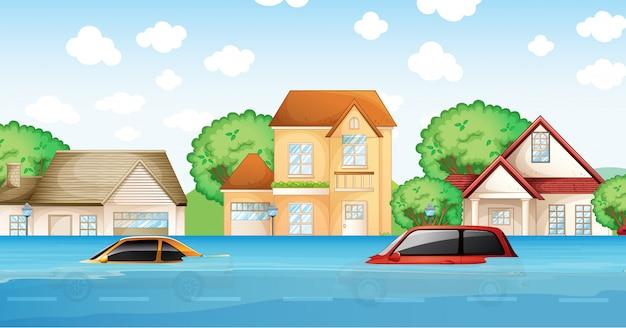Une inondation dans le village Vecteur Premium