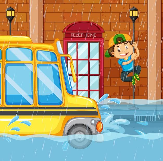 Inondations dans la grande ville Vecteur Premium