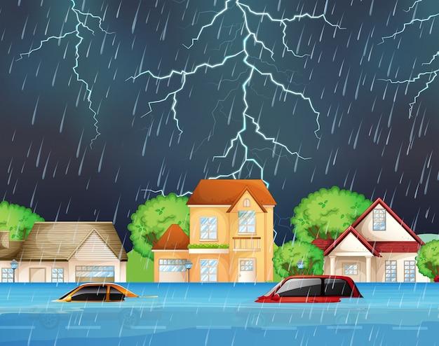Inondations extrêmes dans les rues de banlieue Vecteur Premium