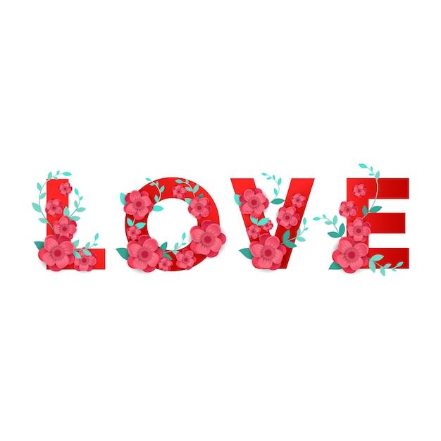 Inscription Amour Avec Décor De Fleurs 3d Isolé Vecteur Premium